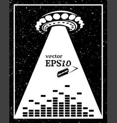 Monochrome alien invasion music frame vector