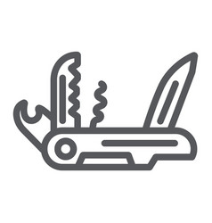 Multi tool line icon camping and multifunction vector