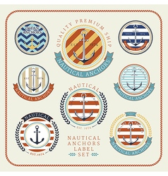 Nautical anchors label set 01 vector