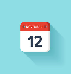 November 12 Isometric Calendar Icon With Shadow vector