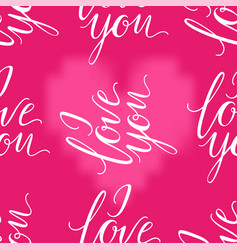 pink heart and i love you inscription seamless vector image