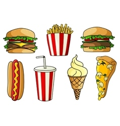 Pizza burger hot dog french fries ice cream vector image