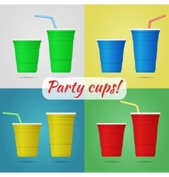 Plastic party cups vector image