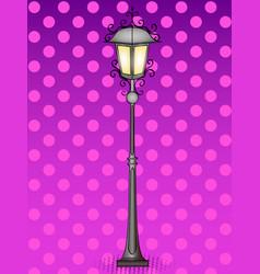 Pop art bronze vintage street lamp comic book vector