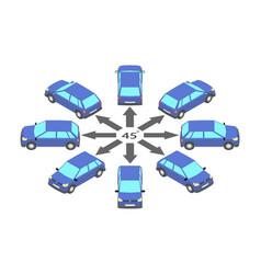 Rotation hatchback 45 degrees vector