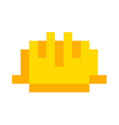 safety helmet yellow icon pixel art cartoon retro vector image