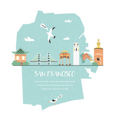 San francisco tourist poster with icons symbols vector