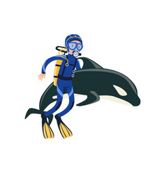 Scuba diver swimming with dolphin active summer vector