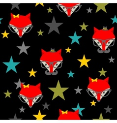 Seamless pattern with hipster foxes vector image