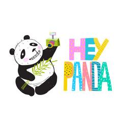 selfie funny panda smiling vector image