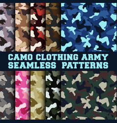 Set camouflage clothing army seamless pattern vector
