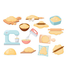 set icons dough bakery ingredients kitchen vector image