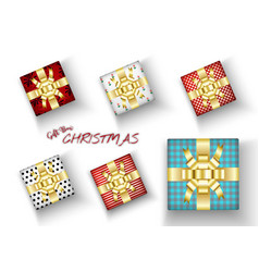 set merry christmas realistic gift box with vector image