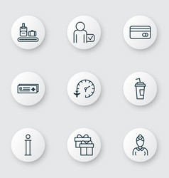 Set of 9 traveling icons includes travel clock vector
