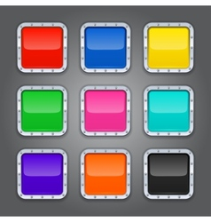 Set of backgrounds with metal border for the app vector image