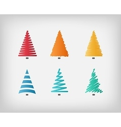Set of simple colorful Christmas trees vector image