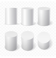 set of white cylinders in various projections vector image