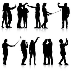 set silhouettes man and woman taking selfie with vector image