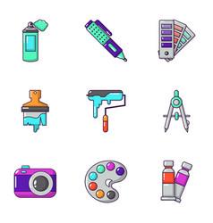 Shade icons set cartoon style vector