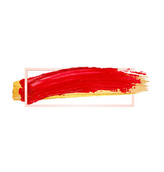 Shining red and gold brush stroke banner isolated vector