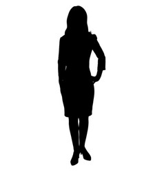 silhoutte of standing woman vector image
