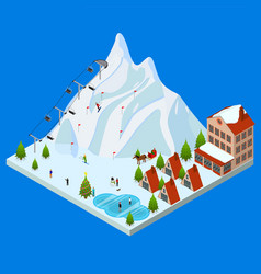 ski resort concept 3d isometric view vector image