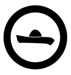 Sombrero icon black color in circle vector