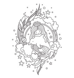 Stylized round composition with mermaid sitting vector