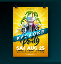 summer karaoke party flyer design with flower vector image