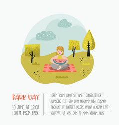 summer landscape with woman relaxing in park vector image
