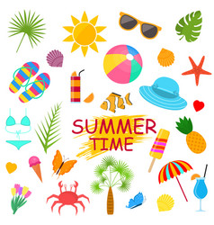 summer time poster color elements set vector image