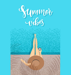 Summer vibes - trendy hand lettering poster hand vector