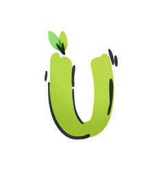 U letter ecology logo with green leaves vector