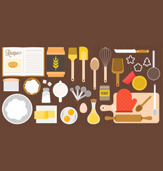 Utensils and ingredients for bakery vector
