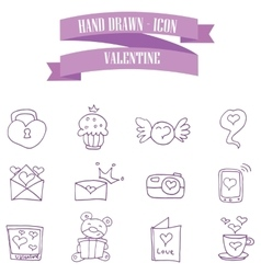 Valentine purple icons style collection vector
