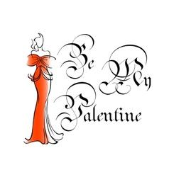 Vintage be my valentine greeting card vector