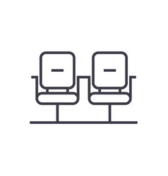 Waiting room linear icon sign symbol on vector