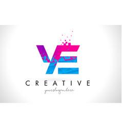 Ye y e letter logo with shattered broken blue vector