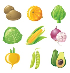 9 highly detailed vegetables icons set vector image vector image