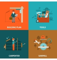 Carpenter concept 4 flat icons square vector image