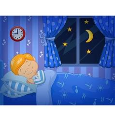 Cartoon little boy sleeping in the bed vector image