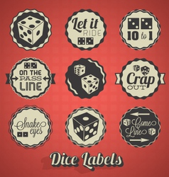 Dice and Craps Labels vector image vector image