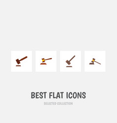 flat icon hammer set of tribunal justice hammer vector image vector image