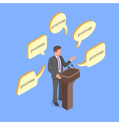 Isometric 3d concept of politician giving empty vector image