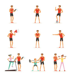 personal gym coach trainer or instructor set of vector image vector image