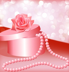 Rose Pearl Necklace vector image vector image