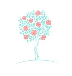 Rose tree logo vector image vector image