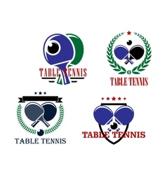 Table tennis emblems or badges vector