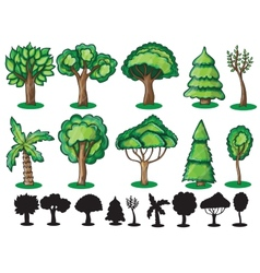 Trees and Silhoutte of trees vector image vector image