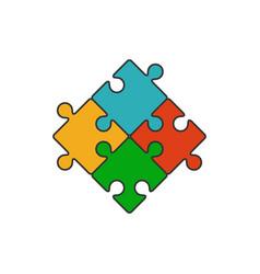 Four piece puzzle flat line icon vector